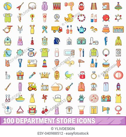 100 department store icons set. Cartoon illustration of 100 department store vector icons isolated on white background