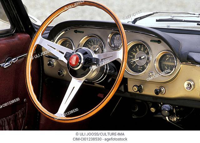 Car, Fiat 2300 S convertible, vintage car, 1960s, sixties, convertible, interior, Cockpit, technics, technical, technically, accessory, accessories