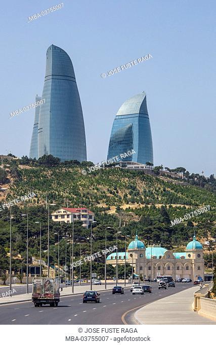 Azerbaijan, Baku City, South Baku Boulevard and the Flame Towers