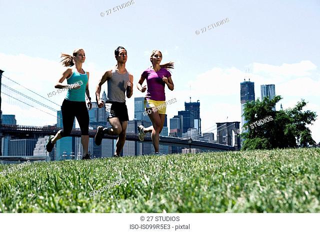 Three people jogging in park