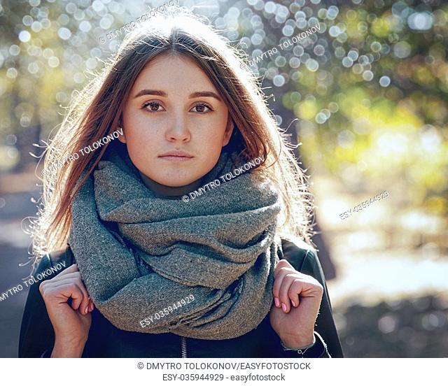 Autumnal. Seasonal female portrait with beauty bokeh