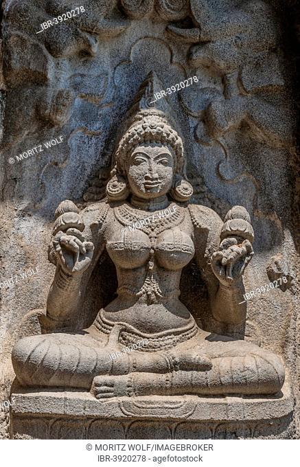 Praying Indian goddess, relief, Gangaikonda Cholapuram, Ariyalur, Tamil Nadu, India