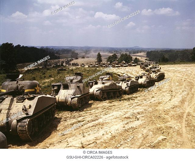 M-4 Tank Line, Fort Knox, Kentucky, USA, Alfred T. Palmer for Office of War Information, June 1942