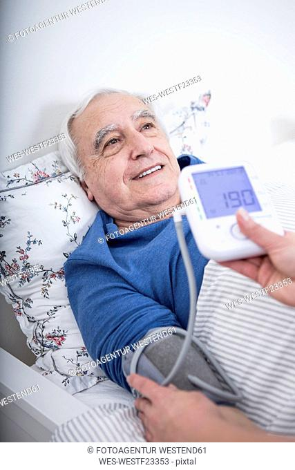 Patient gets blood pressure measured