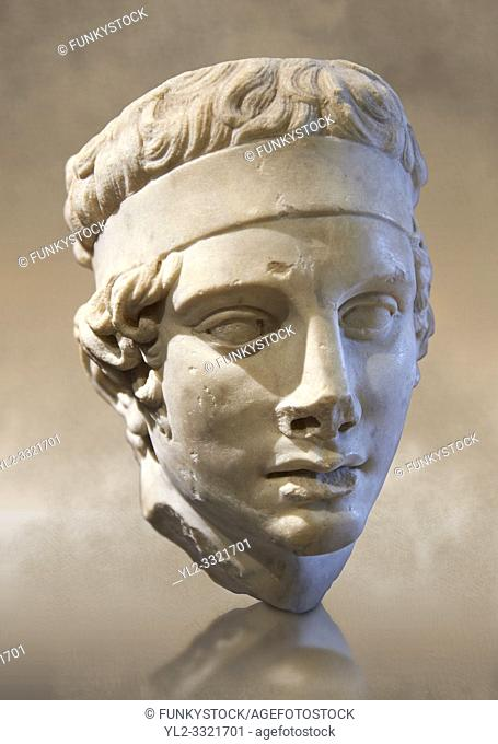 Athletes head, Diadumene type - A Roman sculpture circa 150 AD found at the abbey of Vauluisant in Villeneuve-L'Archeveque, France. Inv No
