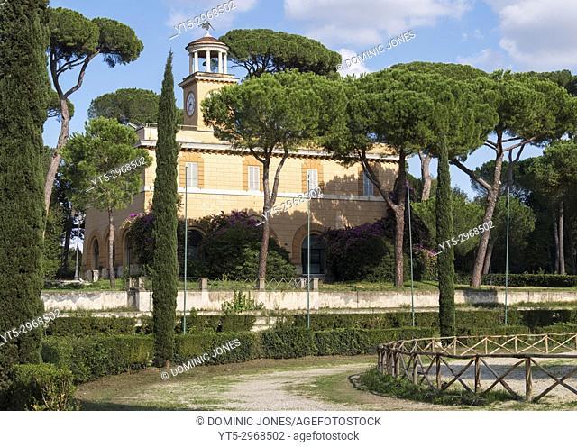The Clock Building in Piazza di Siena, Villa Borghese Gardens, Rome , Italy, Europe