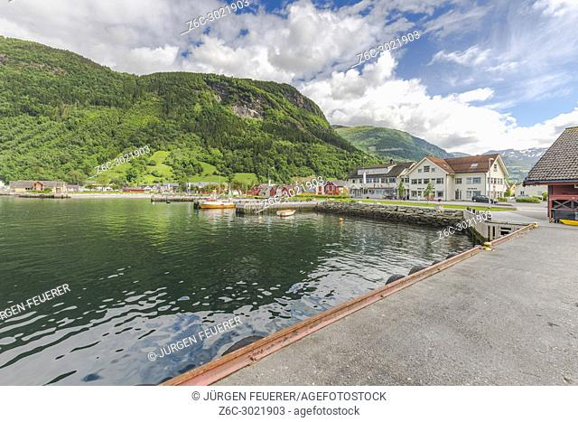 the bay of Vik i Sogn, Norway, view to the boathouses from the landing stage, Sognefjorden
