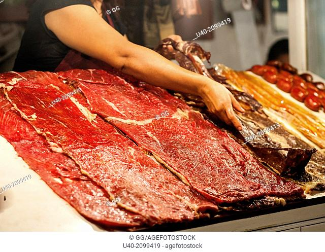 Mexico, Oaxaca, meat in the market