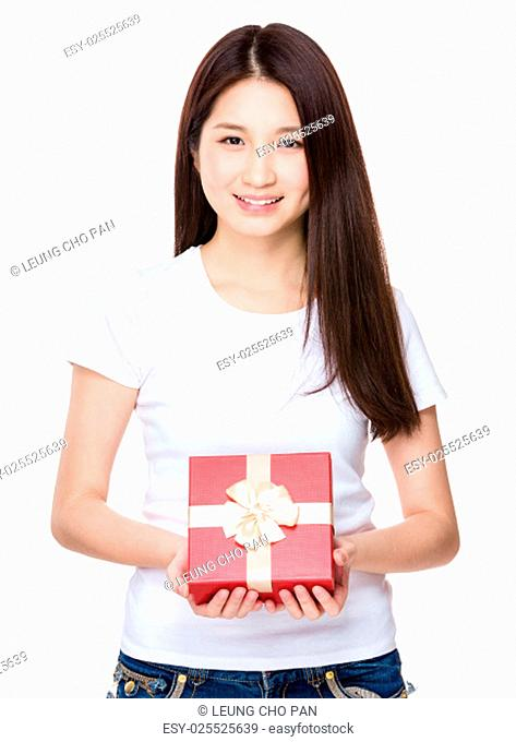 Woman holding with gift box