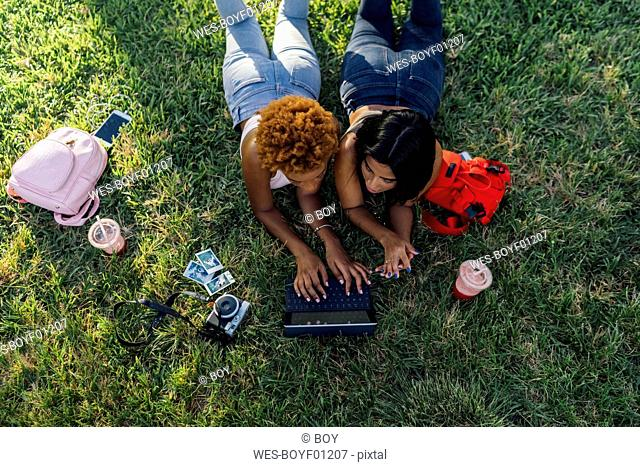 Two female friends relaxing in a park using a tablet
