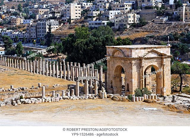 The North Tetrapylon of Gerasa and the modern city of Jerash, Jerash, Jordan