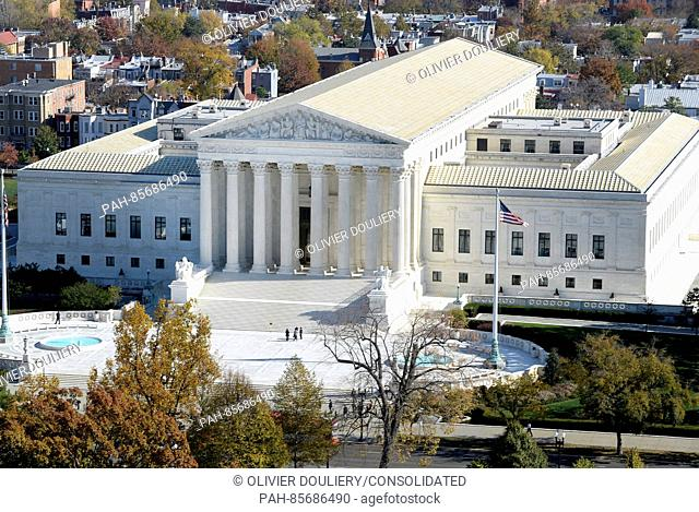 The United States Supreme Court Building can be seen from the top of the recently restored US Capitol dome, November 15, 2016 in Washington, DC