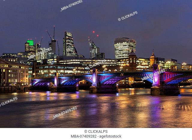 City of London with Southwark Bridge in the evening, London, Great Britain, UK