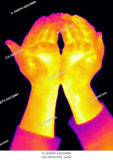 Thermal image of woman's empty cupped hands