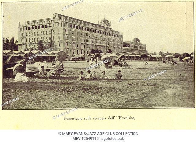 The beach near the Excelsior Hotel, Lido, Venice, 1924
