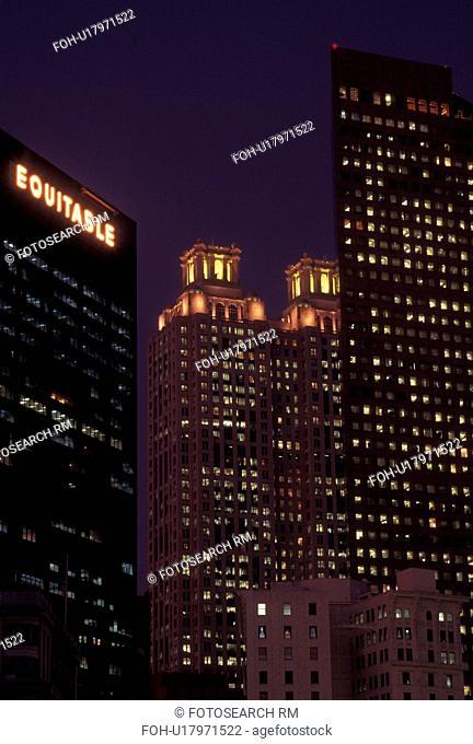 Atlanta, GA, Georgia, Downtown, high-rise buildings, evening
