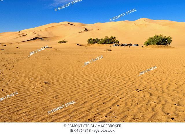 Tourist camp in the sand dunes of Erg Admer, Wilaya Illizi, Algeria, Sahara, North Africa