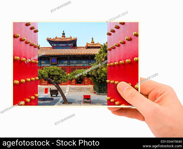 Hand and Lama Yonghe Temple in Beijing China (my photo) isolated on white background