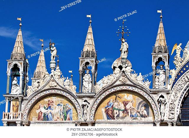 Details of the roof of Saint Mark's Basilica in Venice