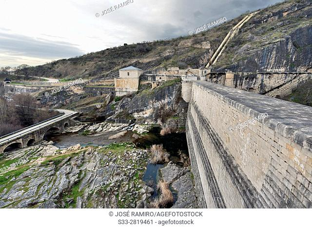 Dam of Ponton de la Oliva reservoir in Patones. Madrid. Spain. Europe
