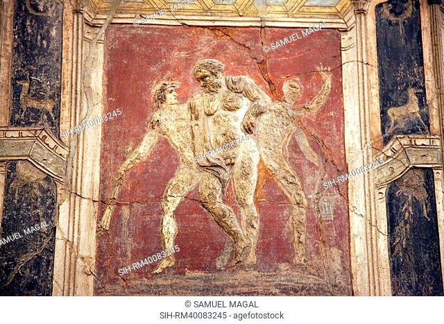 Italy, Naples, Naples Museum, from Pompeii, House of Meleager, Stucco Policromo Polychrome