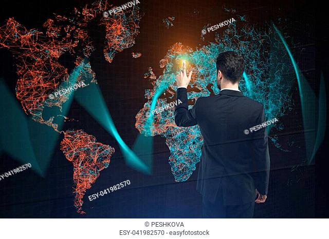 Man on abstract polygonal map background. International business concept. Double exposure