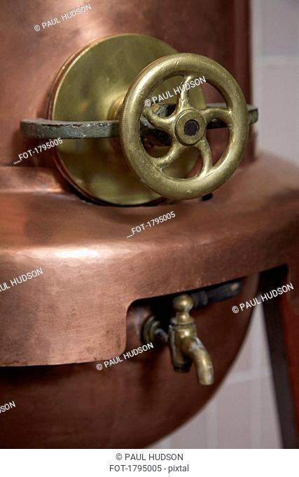 Copper still in distillery