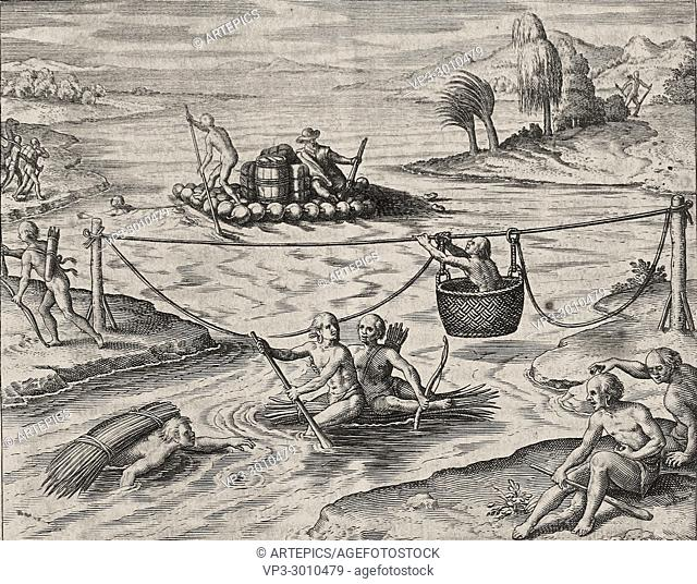 Theodor de Bry - native american indians going down river rapids using rafts and ropes
