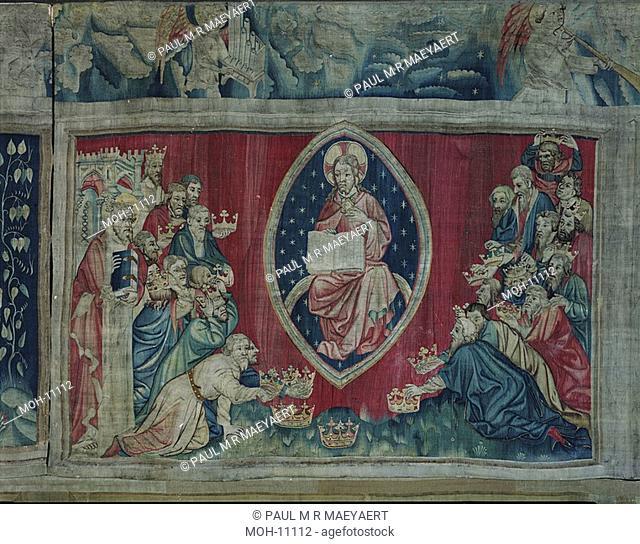 La Tenture de l'Apocalypse d'Angers, Les Vieillards se prosternent 1,52 x 2,43m, Die vierundzwanzig 24 Ältesten werfen sich nieder