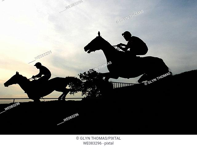 Horses silhouetted as they go over a jump at Towcester Racecourse