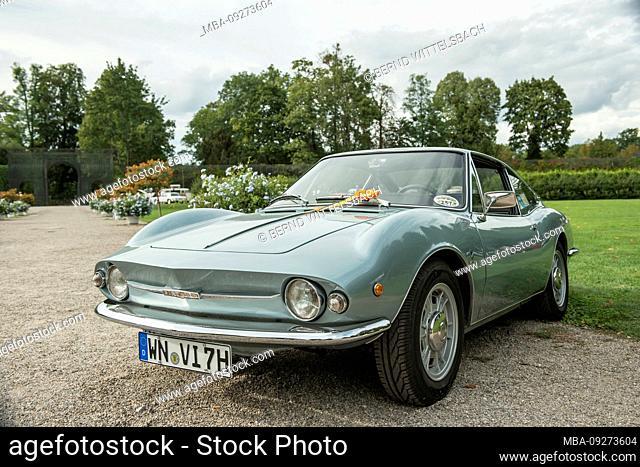 Schwetzingen, Baden-Wuerttemberg, Germany, Fiat Moretti Type 850 SS sportiva, built in 1967, displacement 850 cc, 35 KW, Concours d'Elégance in the castle park