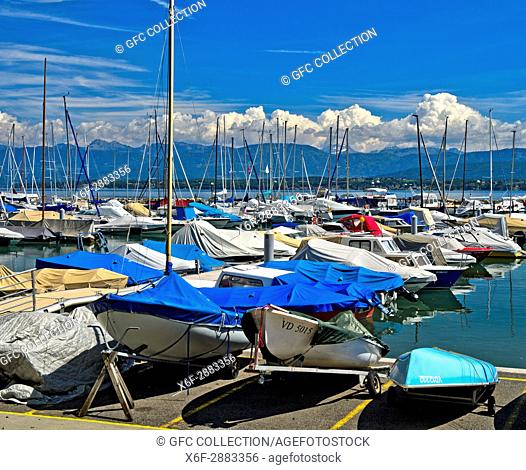 Aberiaux Marina, Port des Aberiaux at Lake Geneva, Prangins, Vaud, Switzerland