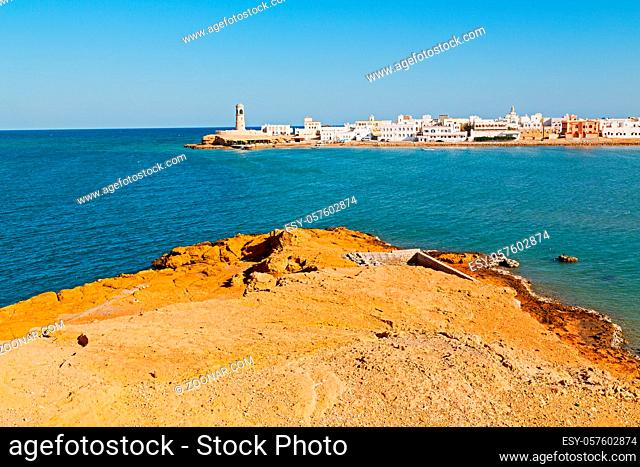 fort battlesment sky and  star brick in oman muscat the old defensive  sea mountain