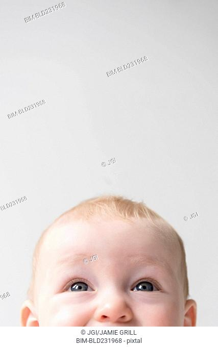 Top of face of Caucasian baby boy