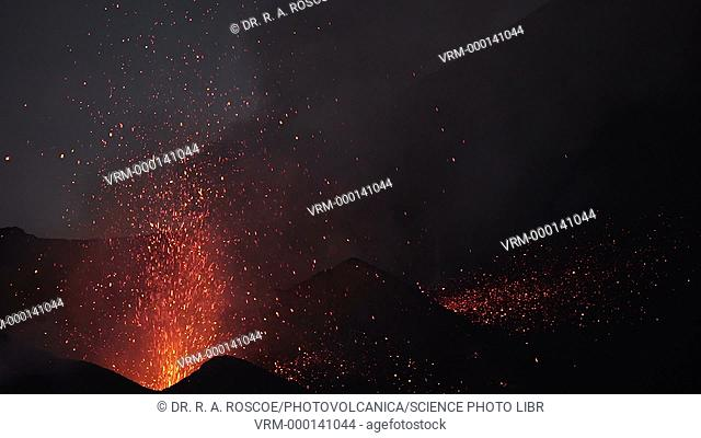 Lava erupting at night from Fogo volcano. Footage of lava erupting from a vent on Pico do Fogo, a stratovolcano on the island of Fogo in the Cape Verde Islands...