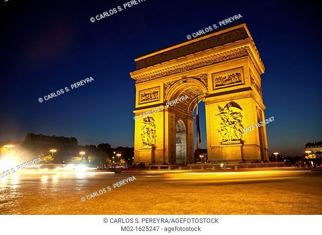 Arc de Triomph de l'Etoile, triumphal arc, Place Charles de Gaulle, Paris, France, Europa