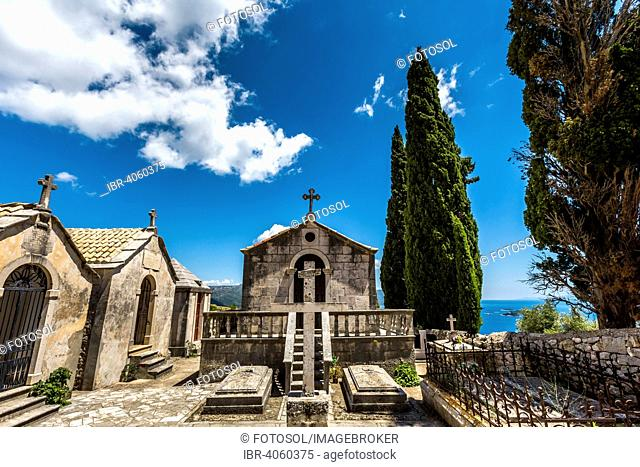 Cemetery, monastery, Podgorje, Peljesac Peninsula, Adriatic, Dalmatia, Croatia