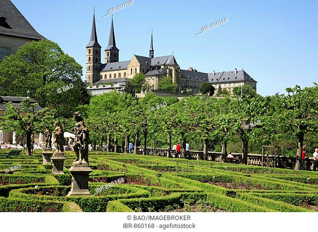 View from the garden of the Neue Residenz onto the St. Michael Monastery, Michelsberg, Bamberg, Upper Franconia, Bavaria, Germany, Europe