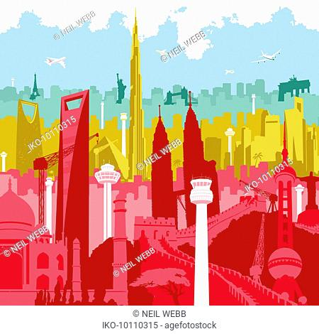 Airplanes flying over colorful montage of international landmarks