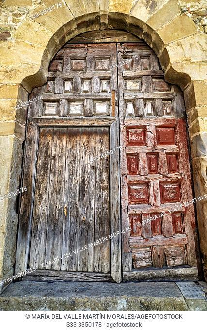 Historical wooden gate in San Pedro Manrique. Soria. Spain. Europe
