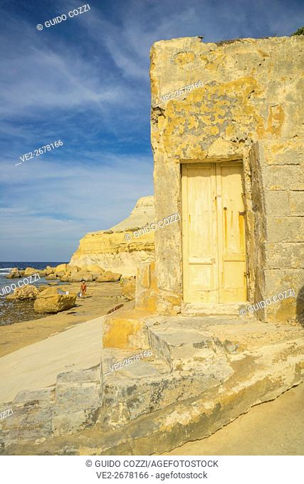 Malta, Gozo. Rock formation at Marsalforn