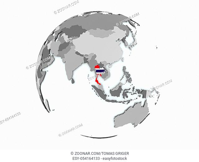Thailand on political globe with embedded flags. 3D illustration isolated on white background