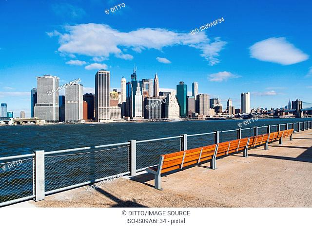 Waterfront view of Manhattan skyline, New York City, USA