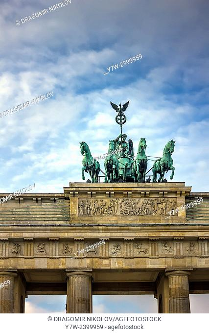 The Brandenburg Gate (German: Brandenburger Tor) is a former city gate and one of the main symbols of Berlin and Germany