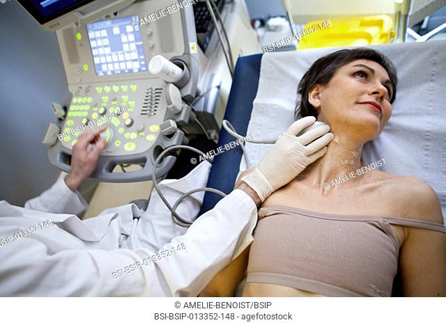 Digital medical imaging centre in Paris, France. Doppler ultrasound scan