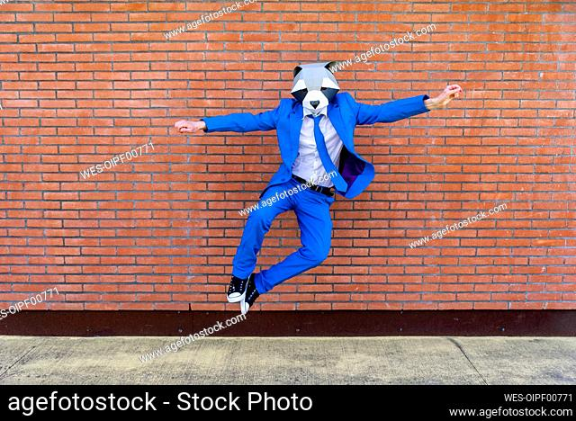 Man wearing vibrant blue suit and raccoon mask jumping against brick wall