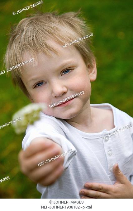 Boy showing dandelion, Skane, Sweden