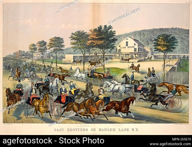 Fast trotters on Harlem Lane N.Y. Com. Vanderbilt with Myron Perry and Daisy Burns. Bonner with Dexter. Eno, Amos F., 1836-1915 (Collector) Currier & Ives...