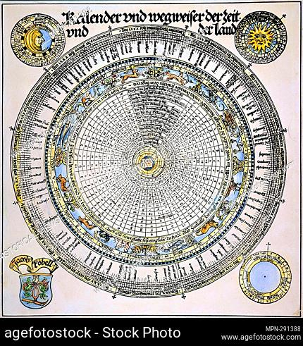 Roman Julian Calender 1520. The German inscription Kalender und wegweiser der zeit und der land translates to calendar and signpost the time and the land