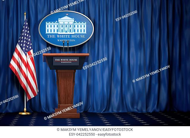 Podium speaker tribune with USA flags and sign of White House with space for text. Briefing of president of US United States in White House